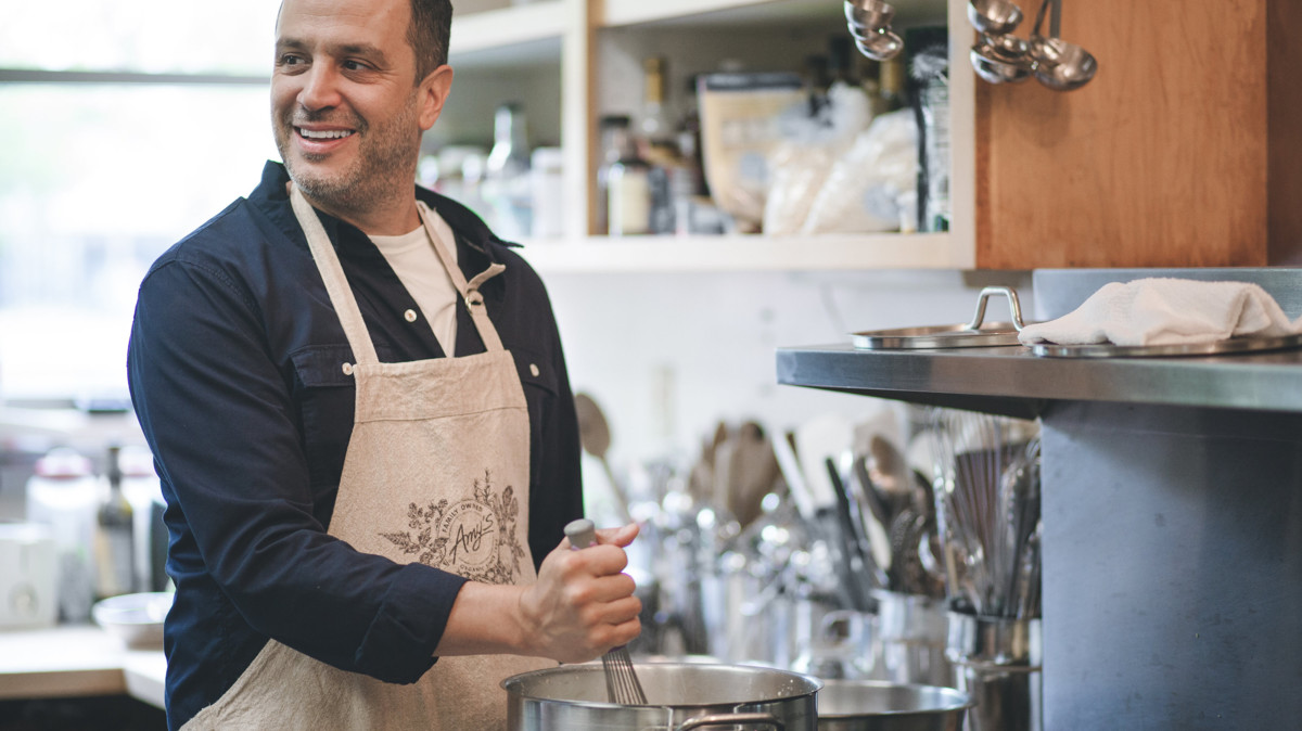 Amy's man in kitchen