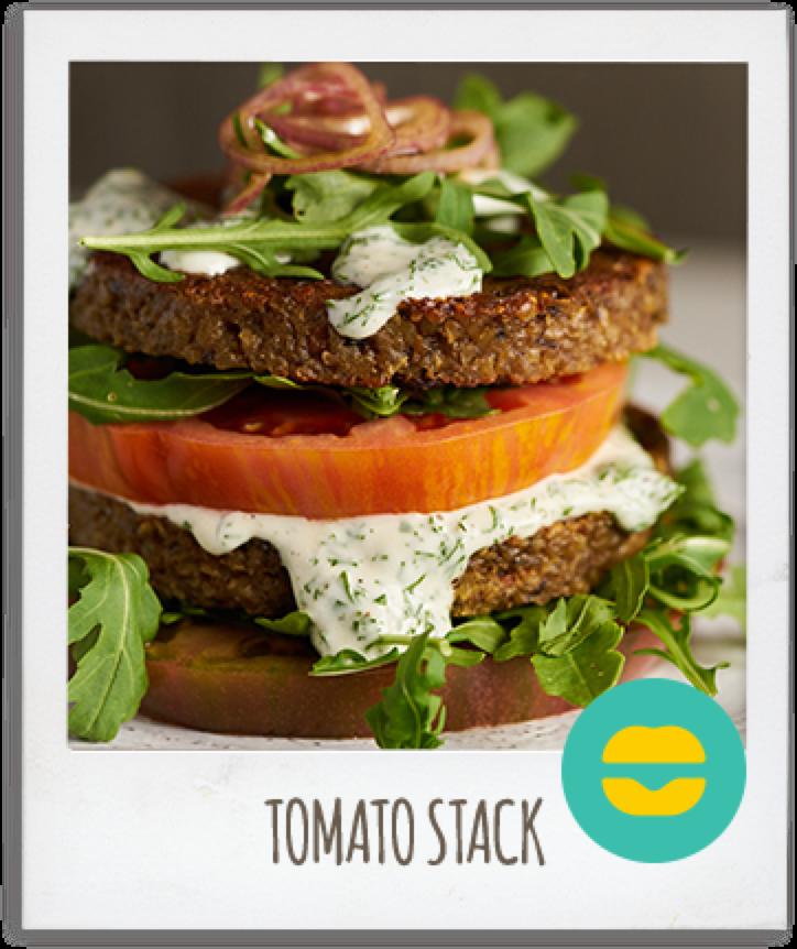 Amy's Veggie Burger Tomato Stack