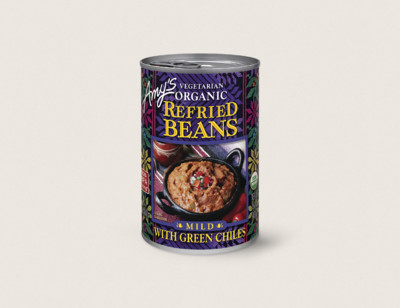 Organic Vegetarian Refried Beans with Green Chiles