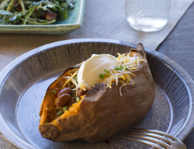 Loaded Sweet Potatoes with Amy's Chili