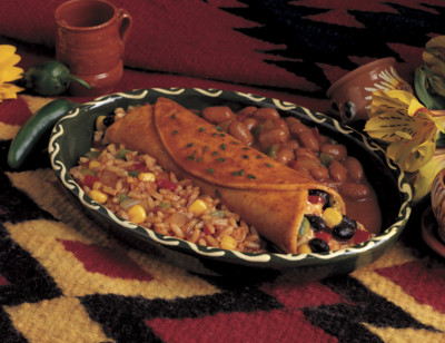 Enchilada with Spanish Rice & Beans Meal standard image