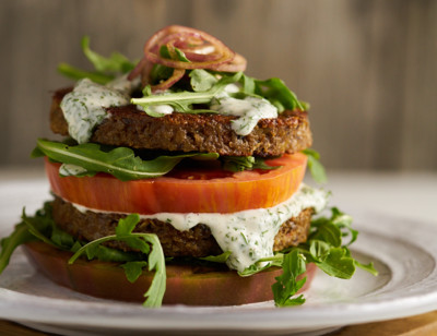 Heirloom Tomato & Veggie Burger Stack with Green Goddess Dressing