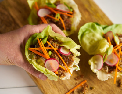 Asian-Style Veggie Burger Lettuce Cups