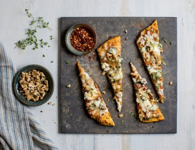 Caramelized Onion, Blue Cheese & Walnut Flatbread Bites