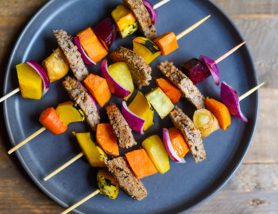 Mini Vegan Burger & Veggie Skewers