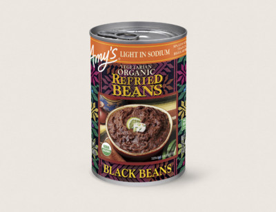 Organic Vegetarian Refried Black Beans, Light in Sodium