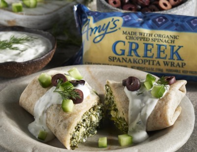Greek Spanakopita Wrap with Tzatziki Sauce and Olives