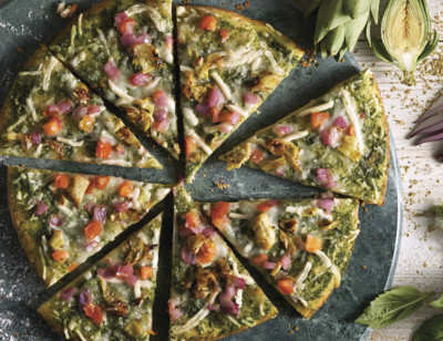 Vegan Pesto & Roasted Artichoke Pizza