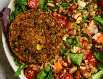 Farro & Black Bean Veggie Burger Salad