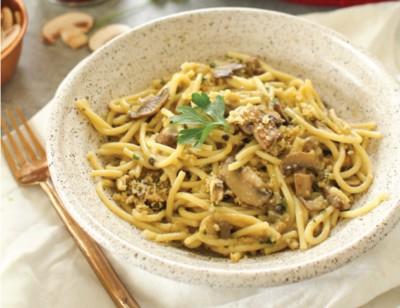Cremini Mushroom Baked Spaghetti