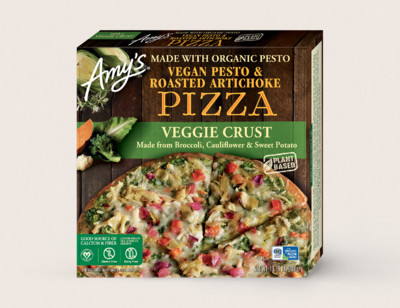 Vegan Pesto & Roasted Artichoke Veggie Crust Pizza hover image