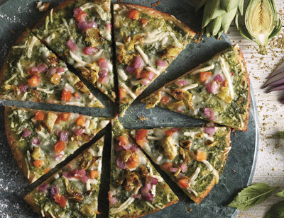 Vegan Pesto & Roasted Artichoke Veggie Crust Pizza