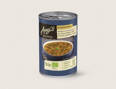 Soupe au quinoa, au chou frisé kale et aux lentilles corail bio