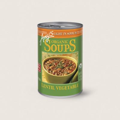Organic Lentil Vegetable Soup, Light in Sodium