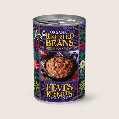 Organic Refried Beans with Green Chiles/Aux Piments Verts Biologiques