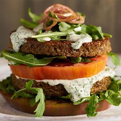 Greek Veggie Burger, and potatoes